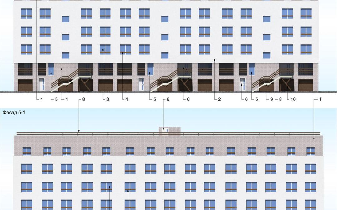 Жилой дом с гаражами на уровне цокольного этажа