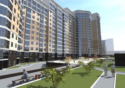 Эскизный проект общественно-жилого комплекса в составе квартала жилых домов бизнес класса с гаражами