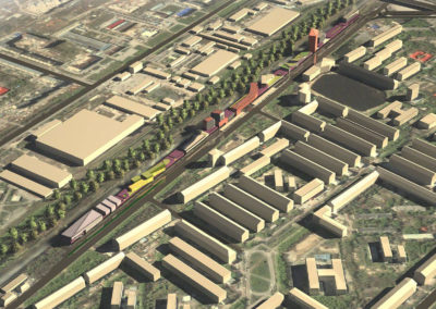 Концептуальное предложение экспозиционного центра с многоуровневыми паркингами