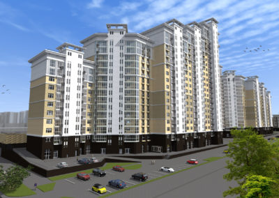 Общественно-жилой комплекс в составе квартала жилых домов бизнес класса с гаражами